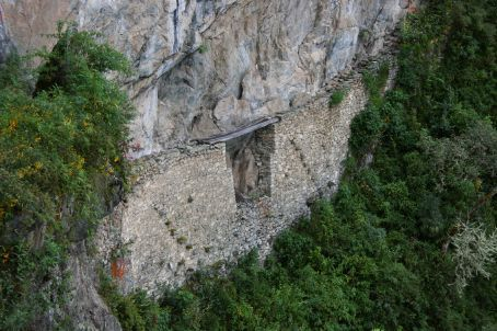 Inca bridge - check out the plank across the gap in the ledge against the sheer cliff.