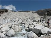 Abe climbing up the terminal moraine of the Khumbu Glacier, at about 4500m: by ang_and_abe, Views[351]