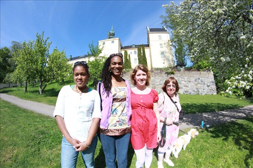 At Tyreso Castle in Stockholm, Sweden with my cousin Tracey and family friends