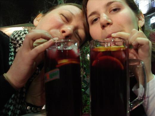 Drinking Sangria on Las Ramblas in Barcelona