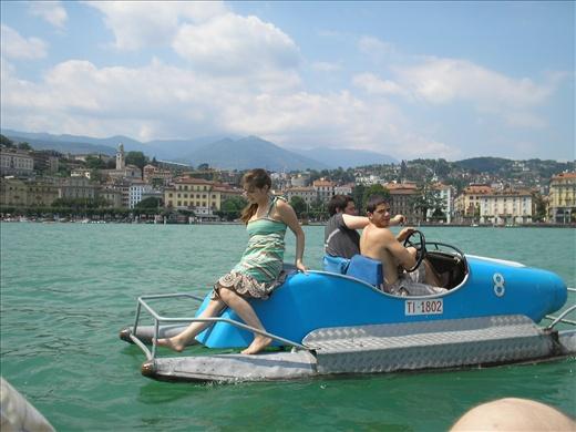 My siblings padde-boating in Lake Como