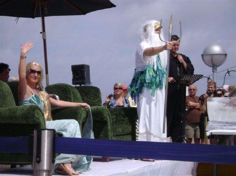 Neptune presiding over the equator-crossing ceremony