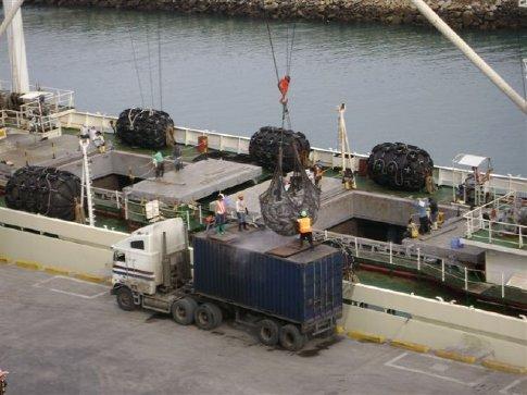 Frozen fish offloaded from a Chinese cargo ship at Manta, Ecuador
