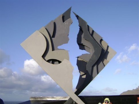 Very nice sculpture, sheets of metal forming an albatross when viewed at the correct angle, erected by the Chilean Captains Association.