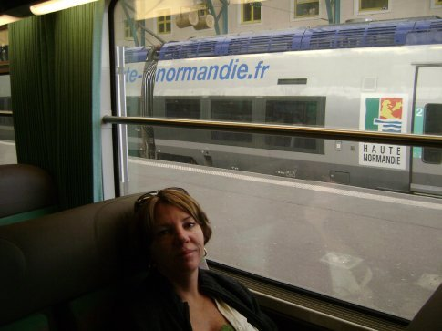 On the train from Le Havre to Rouen, France.