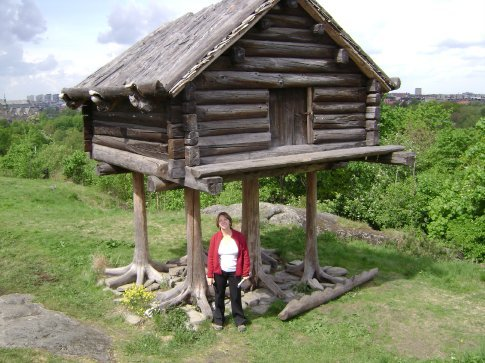 Storehouse for foodstuffs, open air museum, Stockholm.  Reminded us of Baba Yaga's hut.
