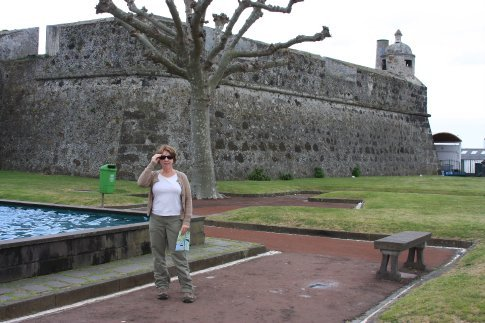 Anita outside the fort