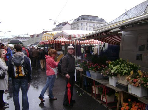 A wonderful market on a drizzly day in Vienna.