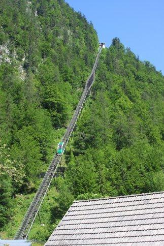 The funicular railway up to the salt mine, Hallstatt.  Notice the trapezoid car.