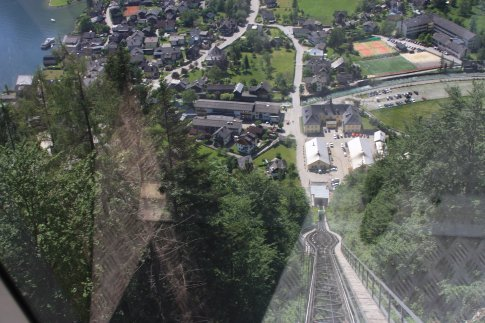 Looking down from the top of the funicular ride.