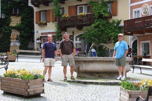 Town square with suggestive fountain spigots, Hallstatt, Austria
