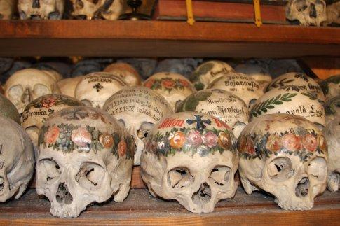 Painted skulls, Charnel House, Hallstatt, Austria