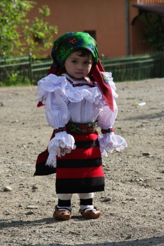 Adorable little girl in typical dress, Maramures, Romania.