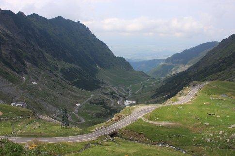 The road through Fagaras Pass, Carpathian Mountains, Romania.