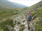Traversing oner of many scree slopes in the Cumbria Mountains.  Note the trail in the  background.: by anijensen, Views[233]