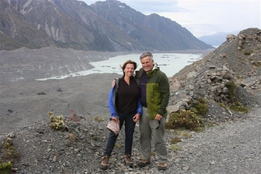 We are facing up the glacier valley, the silted end of the glacier on our right, two lakes behind us