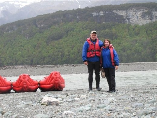 Funyaks, inflatable canoes, on the Dart River