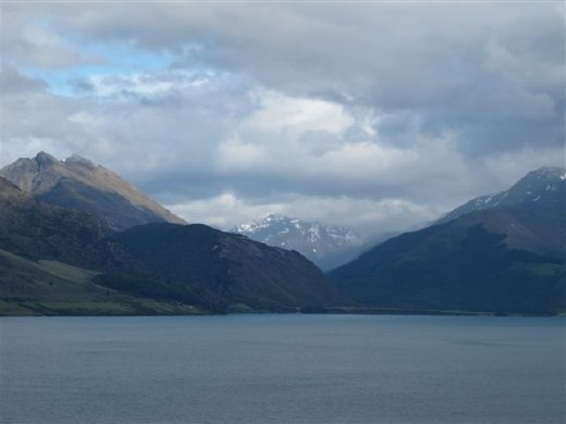 Looking at the northern end of Lake Wakatipu, at the mouth of the Dart River, with its origins in the Southern Alps (aka The Misty Mountains)