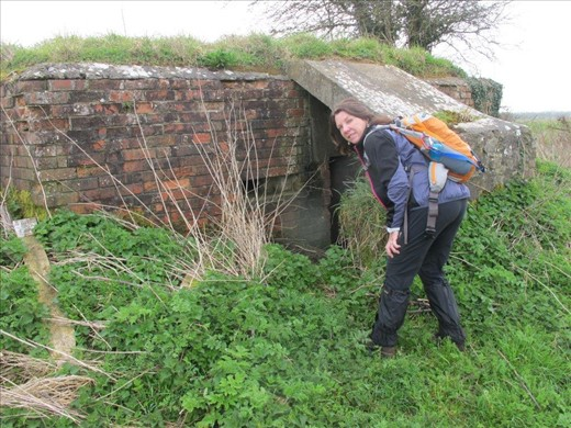 Peering at a WWII bunker in the middle of a field.