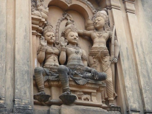 Statuary on the exterior wall of the largest Buddhist temple in Colombo
