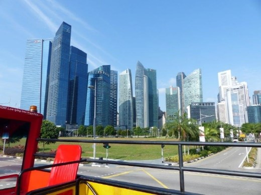 On the Hop-on Hop-off bus, staring in wonder at the Singapore skyline.