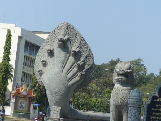 Seven-headed naga (cobra) guarding the king's palace, Phnom Penh.