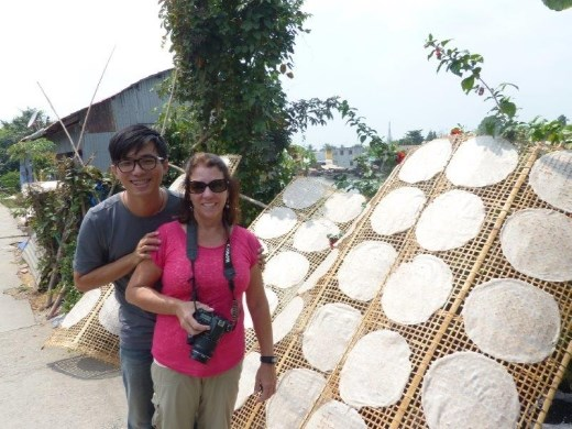 Anita, our guide, and drying rice paper