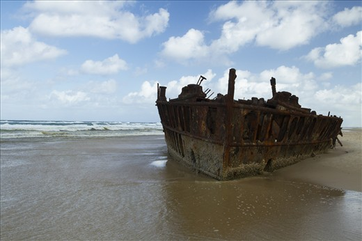 SS Maheno sitting on the sand