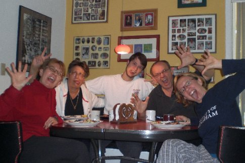 Crazy people (Ann, Bobbie, Elliott, Chuck, & Kirst) at our kitchen table