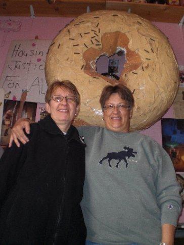Ann & Bobbie at Voodoo Donuts!