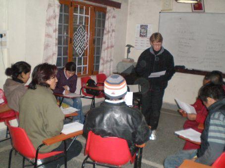 Ann teaching at Tibet Charity
