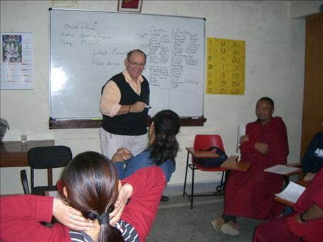Chuck leading discussion in our conversation class