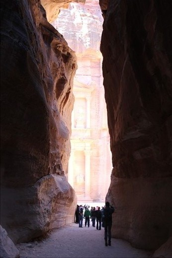 After a long walk through a beautiful high-walled canyon, my study abroad class caught our first glimpse of the ancient city of Petra, Jordan.  A treasure hidden in the middle of the desert, ancient and magnificent.   (unedited.)
