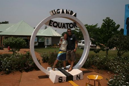 At the Equator in Uganda. You are apparently 5% lighter when standing on the equator!