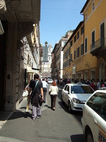 Via Condotti with the Spanish Steps in the background