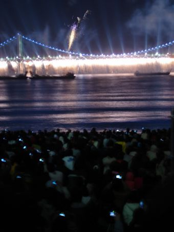 2nd Busan APEC fireworks - all the 'fireflies' on the beach are mobiles, not a speck of sand to be seen
