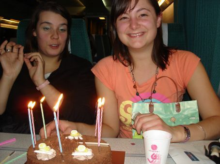 Abi's birthday - wine and cake on the train to Seoul
