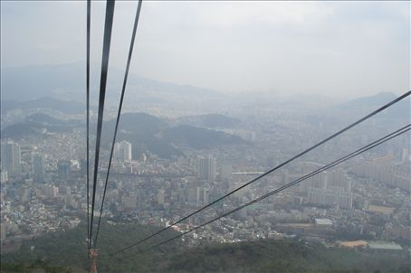 Heading up the cable car to Mt. Geumjeong