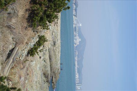 Igidae Park, looking over to Gwangan Bridge, APEC House and Gwang-alli Beach