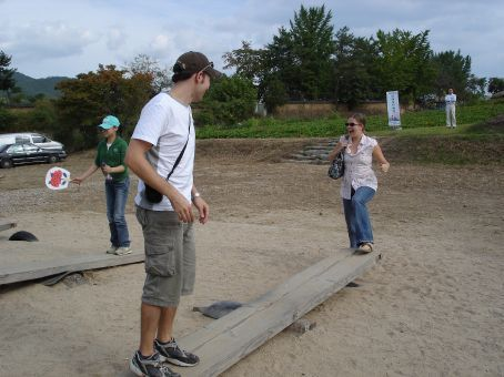 Traditional games at Hahoe Folk Village - Cory and Stacey try out the see-saw