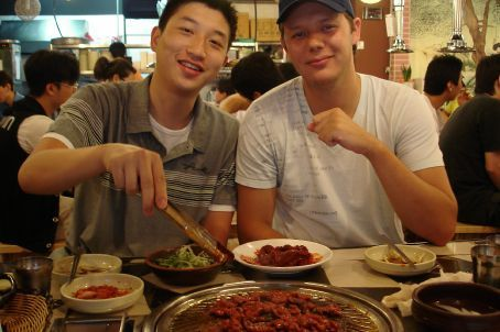 Yin and Chris enjoying their last supper - Sam Gyeop Sal and Bul Galbi