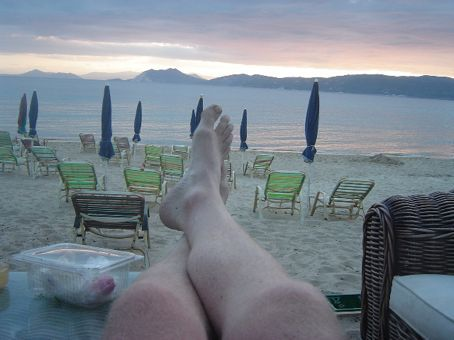 Relaxing at banan beach to watch the sunset