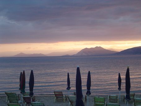 Mountains on the mainland of Greece in the distance