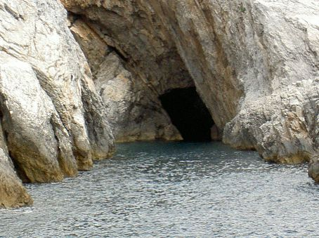 A cave seen from the tour boat