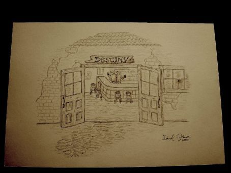 Destiny Bar -- The personality of the bar felt like a friendly old English Pub, so that's how I drew it.  The people inside are Chris and Steve, the owners.