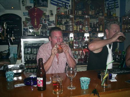 Me trying to beat the bartender on throwing down a beer and vodka -- i did once!