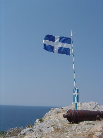 Greek flag near the old village