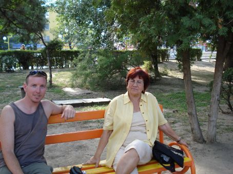 My surrogate mom in Tulcea.  She's 70 years old.  She took me to her pensione from the train station.  Fed me homemade cherry liquor.