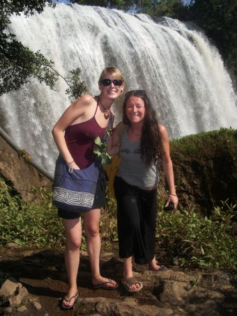 annie and i in front of a big waterfall near dalat in vietnam