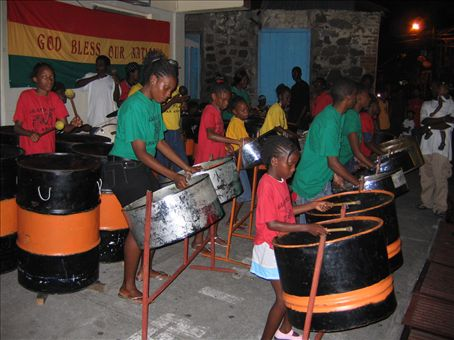 Pumping the drums at Fish Friday, Gouyave on Grenada.